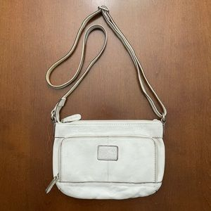 Fossil white leather crossbody bag